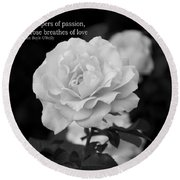 The White Rose Breathes Of Love Round Beach Towel