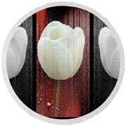 The White Tulip Round Beach Towel