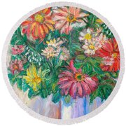 The White Vase Round Beach Towel
