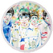The Who - Watercolor Portrait Round Beach Towel
