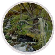 The Willow Woman Washing Her Hair Round Beach Towel