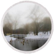 The Willows In Winter - Newtown Square Pa Round Beach Towel