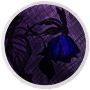 The Wilted Blue Rose Round Beach Towel