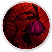 The Wilted Pink Rose Round Beach Towel