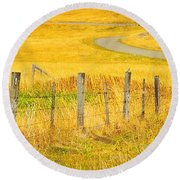The Winding Road The Crooked Fence And The Bluebird Round Beach Towel