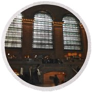 The Windows At Grand Central Terminal Round Beach Towel