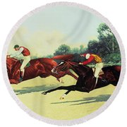 The Winning Post In Sight Round Beach Towel by Henry Stull