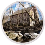 The Wissahickon Creek And Mather Mill Round Beach Towel