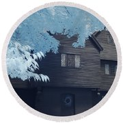 The Witch House In Infrared Round Beach Towel