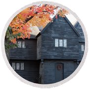 The Witch House Of Salem Round Beach Towel