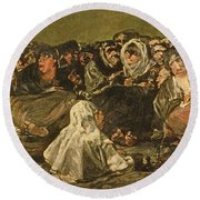 The Witches Sabbath Or The Great He-goat, One Of The Black Paintings, C.1821-23 Oil On Canvas Round Beach Towel