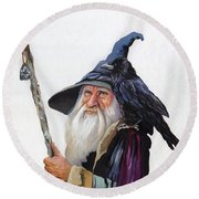 The Wizard And The Raven Round Beach Towel by J W Baker
