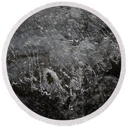 Ice Over The River Round Beach Towel