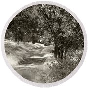 The Wooded Path Round Beach Towel