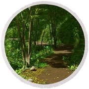 The Wooded Path... Round Beach Towel