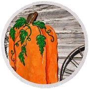 The Wooden Pumpkin Round Beach Towel