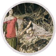 The Wooing Of Grimhilde The Mother Of Hagen From 'siegfried And The Twilight Of The Gods Round Beach Towel by Arthur Rackham