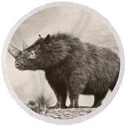 The Woolly Rhinoceros Is An Extinct Round Beach Towel
