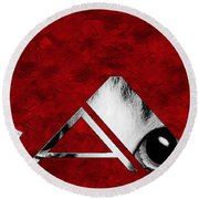 The Word Is Cat Bw On Red Round Beach Towel