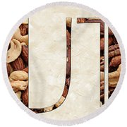 The Word Is Nuts Round Beach Towel