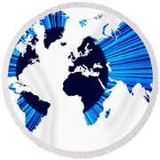 The World Map And Globe Round Beach Towel