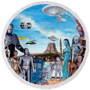 The World Of Sci Fi Round Beach Towel