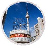 The Worldtime Clock Alexanderplatz Berlin Germany Round Beach Towel
