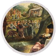 The Worship Of The Golden Calf Round Beach Towel