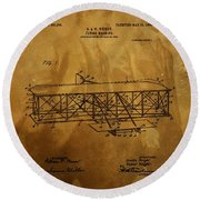 The Wright Brothers Airplane Patent Round Beach Towel