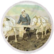 The Writer Lev Nikolaevich Tolstoy Round Beach Towel by Ilya Efimovich Repin