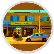 The Yangtze Chinese Food Restaurant On Van Horne Montreal Memories Cafe Street Scene Carole Spandau  Round Beach Towel