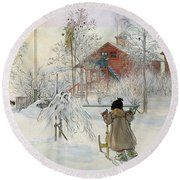 The Yard And Wash House Round Beach Towel by Carl Larsson