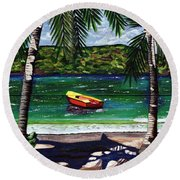 The Yellow And Red Boat Round Beach Towel