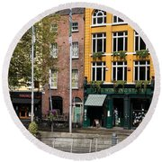 The Yellow House At The Liffey River - Dublin - Ireland Round Beach Towel