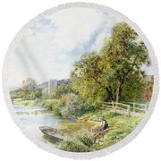 The Young Angler Round Beach Towel