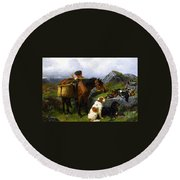 The Young Gamekeeper Round Beach Towel