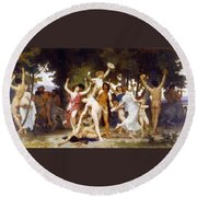 The Youth Of Bacchus Round Beach Towel