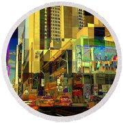 Theatre District - Neighborhoods Of New York City Round Beach Towel