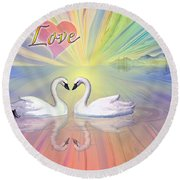Themes Of The Heart-love Round Beach Towel