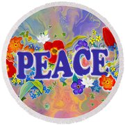 Themes Of The Heart-peace Round Beach Towel