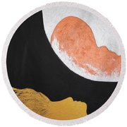 ..then The Moon Come To Kiss Good Bye... Round Beach Towel