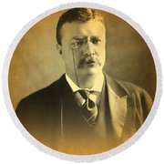 Theodore Teddy Roosevelt Portrait And Signature Round Beach Towel by Design Turnpike