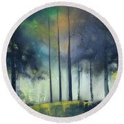 There Is Light At The End Of The Woods Round Beach Towel