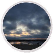 There's A Freedom In The Night Round Beach Towel