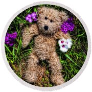These Are For You - Cute Teddy Bear Art By William Patrick And Sharon Cummings Round Beach Towel