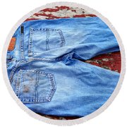 These Old Jeans Round Beach Towel