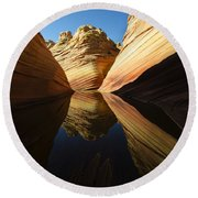 The Wave Reflected Beauty 1 Round Beach Towel