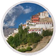 Thiksay Monastery Ladakh Jammu And Kashmir India Round Beach Towel