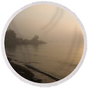 Thin Fog And Sunshine Round Beach Towel