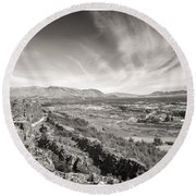 Thingvellir Iceland Black And White Round Beach Towel